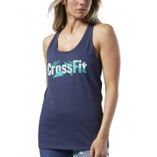 REEBOK CrossFit Print Fill Logo Tank Top Blue