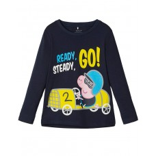 NAME IT George Pig Long-Sleeved Blouse D. Sapphire