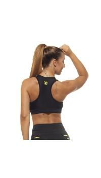 Дамско Бюстие EX FIT Sports Bra Black&Yellow