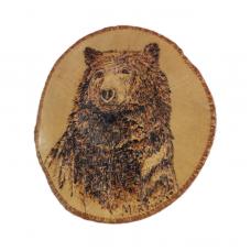 Мечок - портрет, пирография върху дърво